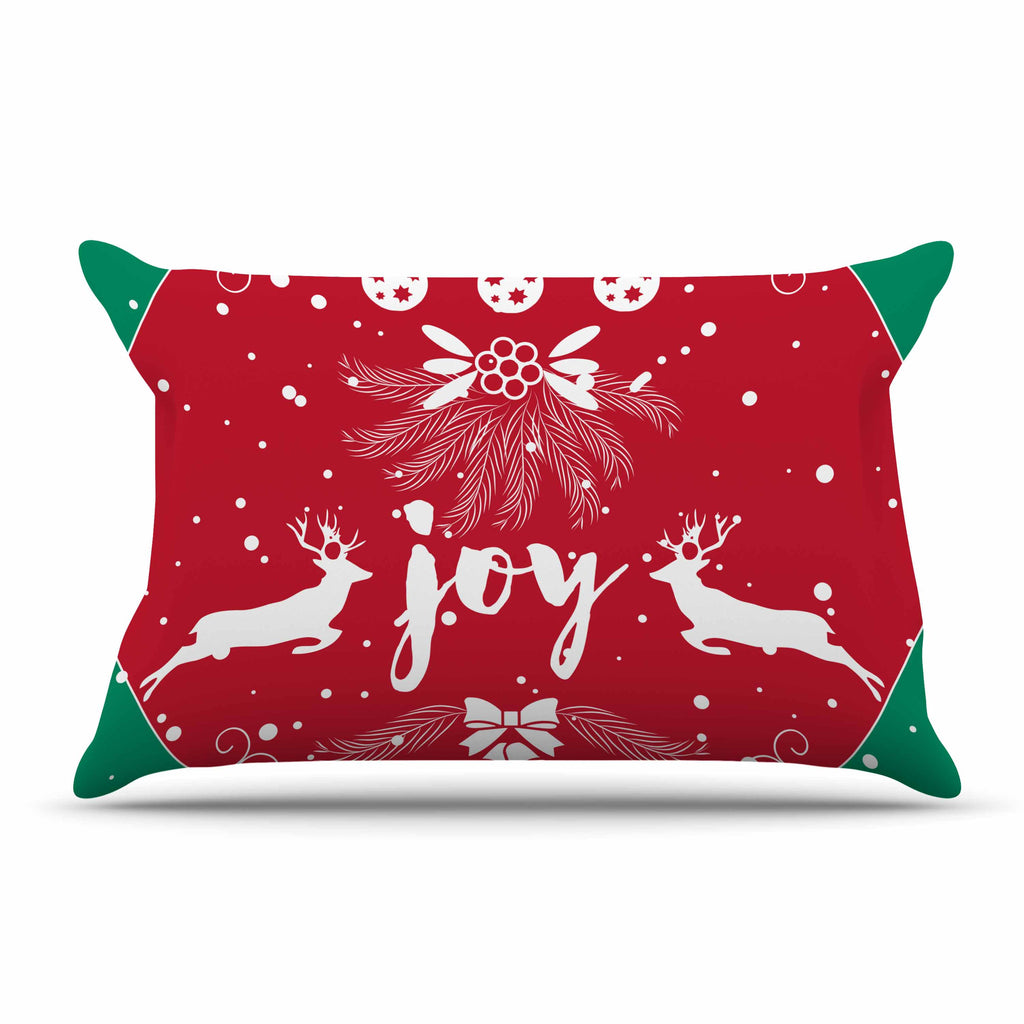 "Famenxt ""Christmas Joy"" Red Green Digital Pillow Sham"