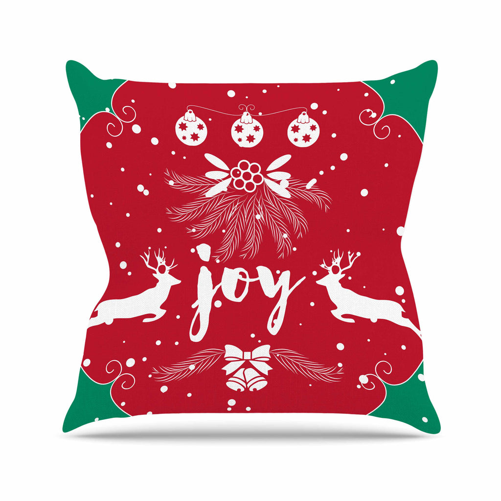 "Famenxt ""Christmas Joy"" Red Green Digital Throw Pillow"