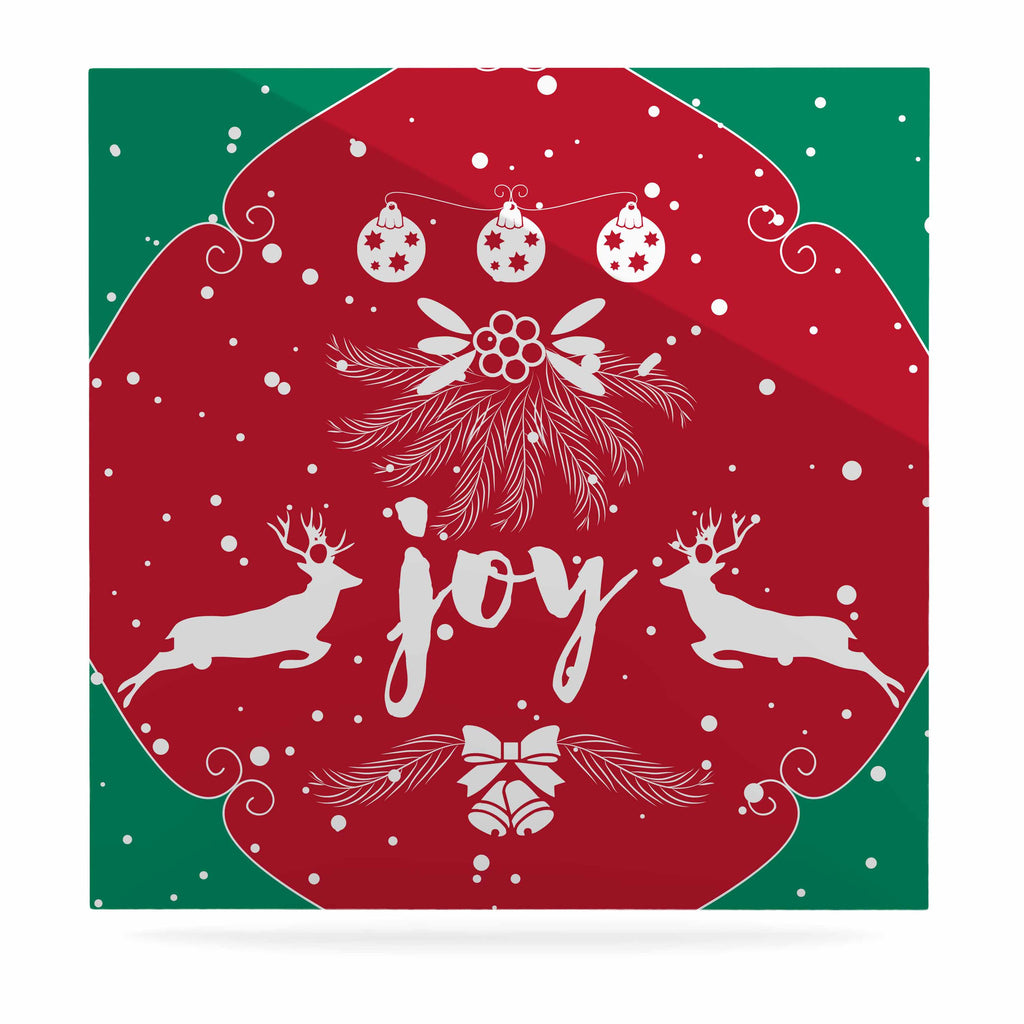 "Famenxt ""Christmas Joy"" Red Green Digital Luxe Square Panel"