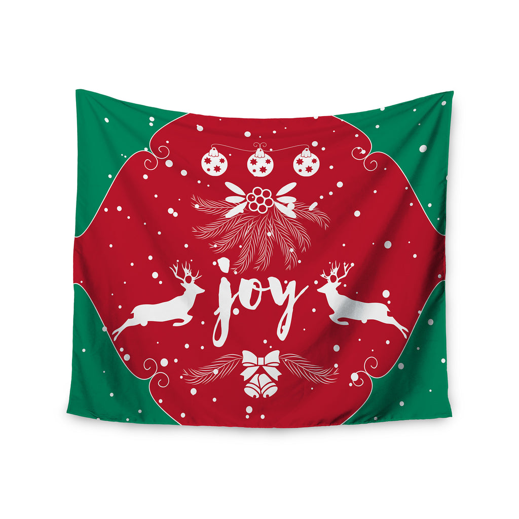 "Famenxt ""Christmas Joy"" Red Green Digital Wall Tapestry - KESS InHouse  - 1"