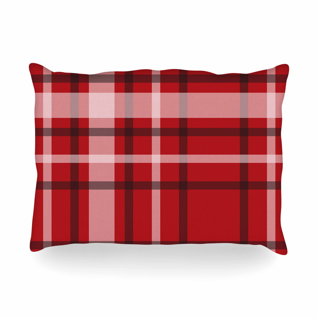 "Famenxt ""Plaid Red"" Red Black Digital Oblong Pillow"
