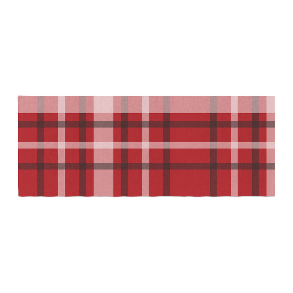 "Famenxt ""Plaid Red"" Red Black Digital Bed Runner"