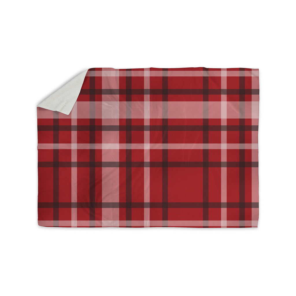 "Famenxt ""Plaid Red"" Red Black Digital Sherpa Blanket - KESS InHouse"