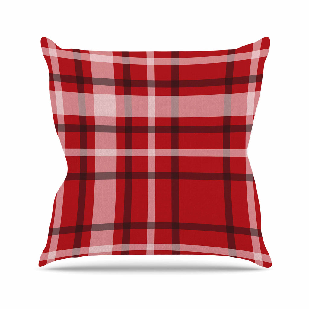 "Famenxt ""Plaid Red"" Red Black Digital Throw Pillow"