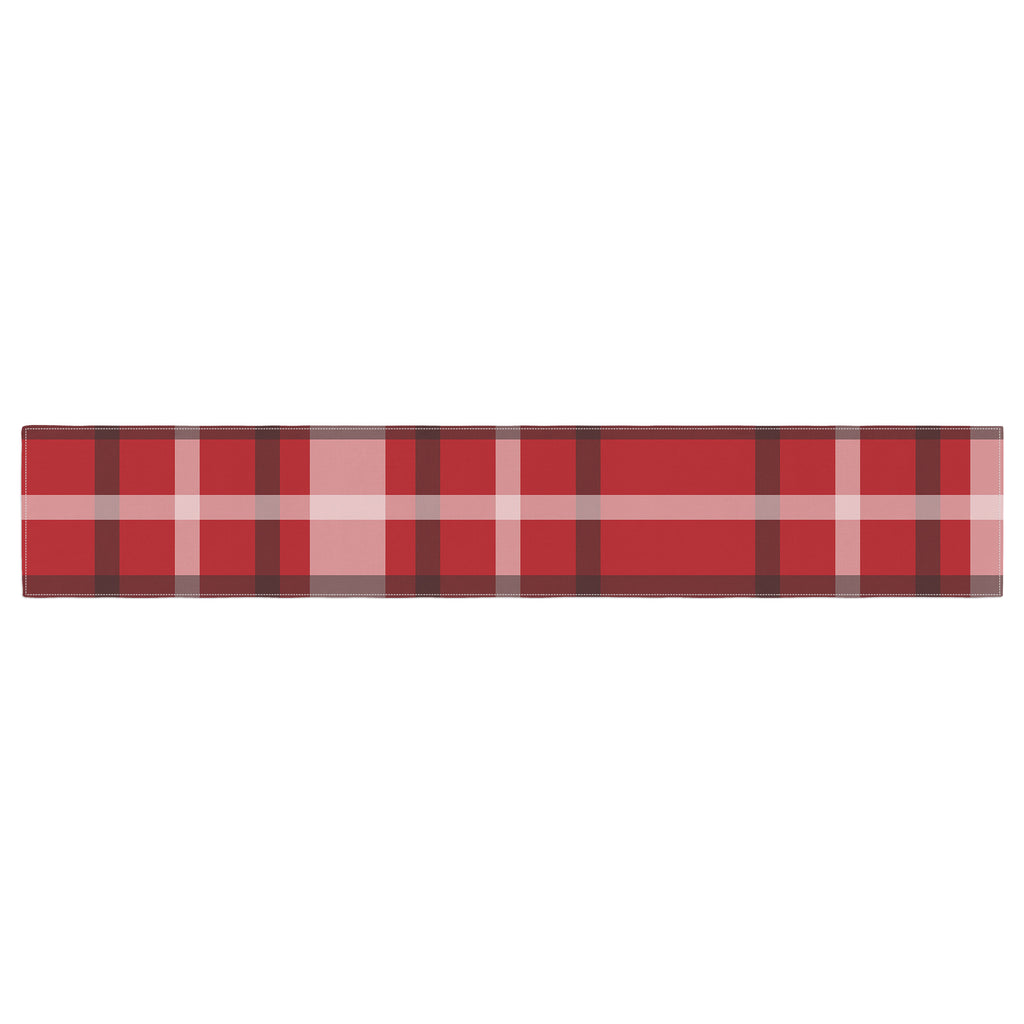 "Famenxt ""Plaid Red"" Red Black Digital Table Runner"