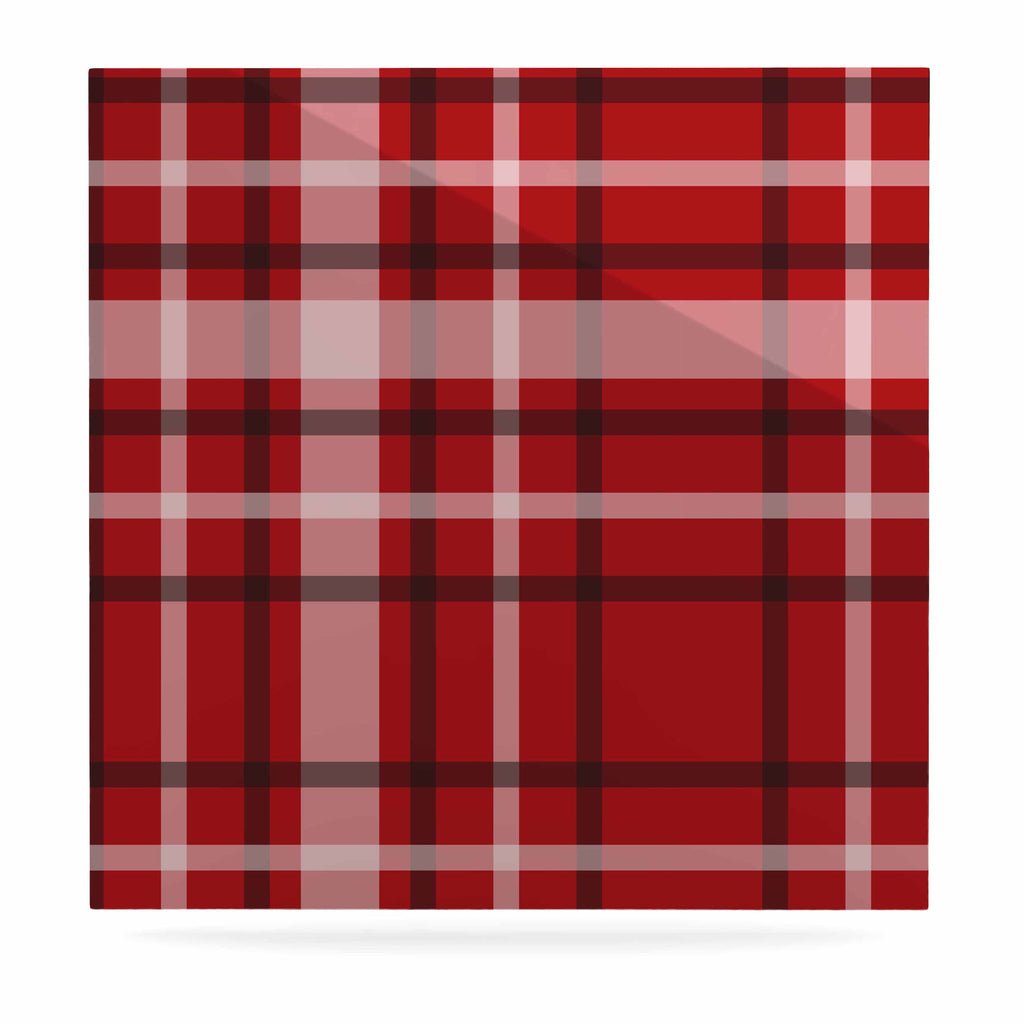 "Famenxt ""Plaid Red"" Red Black Digital Luxe Square Panel"