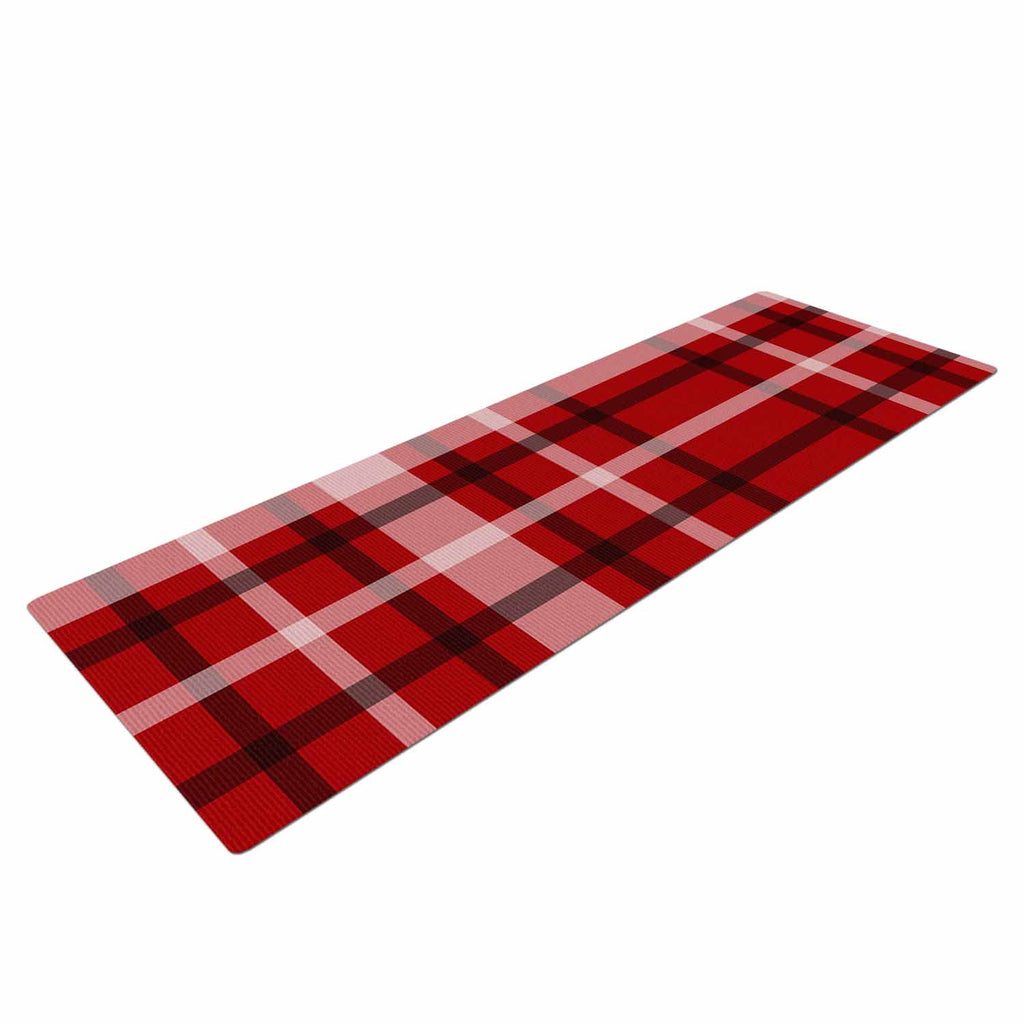 "Famenxt ""Plaid Red"" Red Black Digital Yoga Mat"