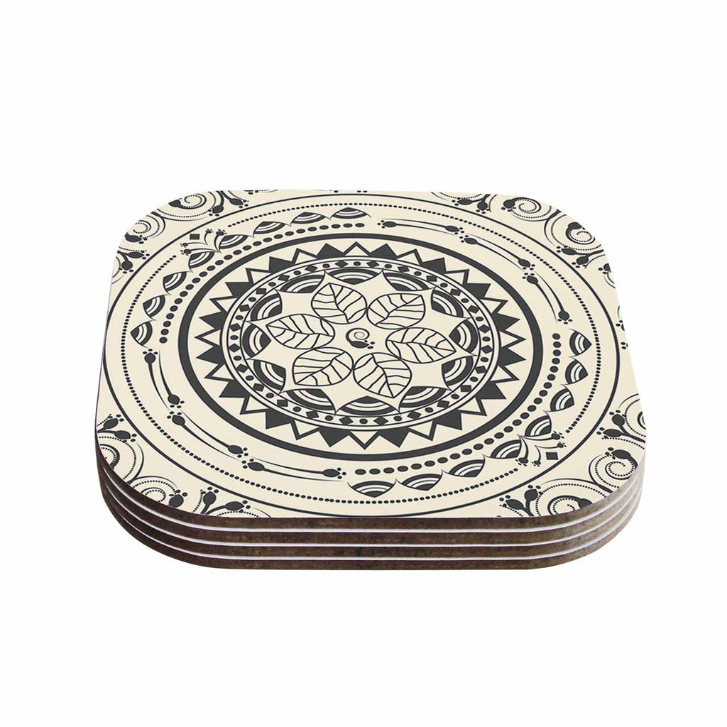 "Famenxt ""Boho Folk Mandala"" Beige Black Digital Coasters (Set of 4)"