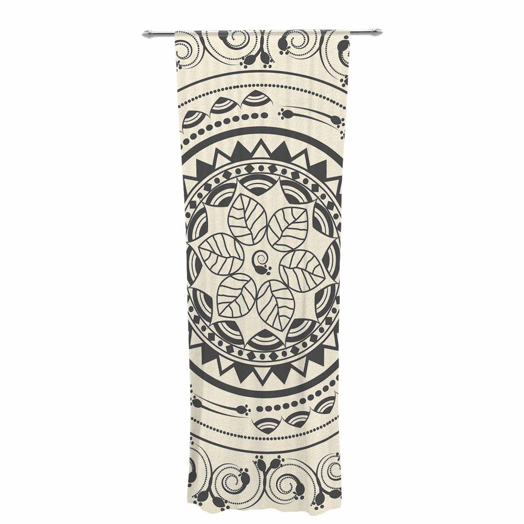"Famenxt ""Boho Folk Mandala"" Beige Black Digital Decorative Sheer Curtain"