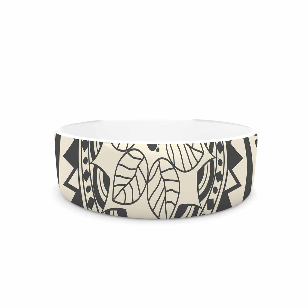 "Famenxt ""Boho Folk Mandala"" Beige Black Digital Pet Bowl"