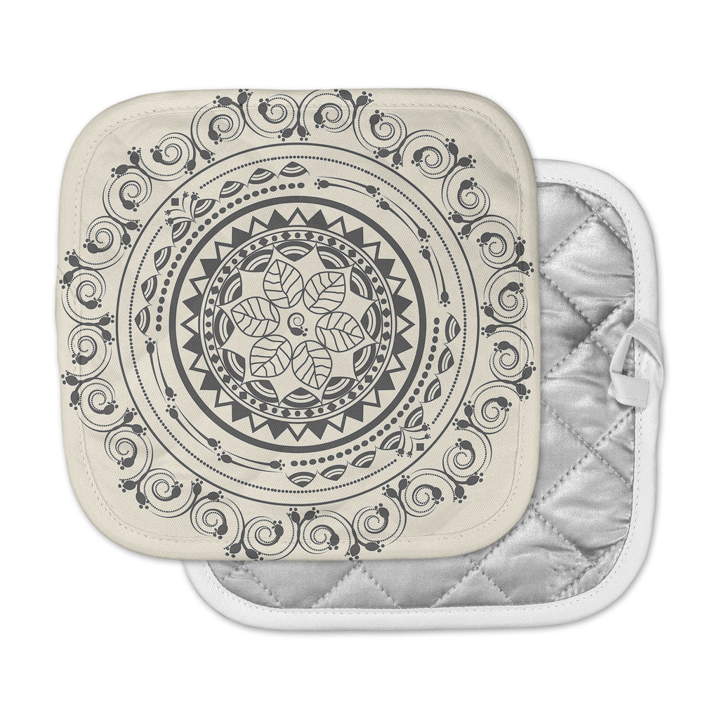 "Famenxt ""Boho Folk Mandala"" Beige Black Digital Pot Holder"