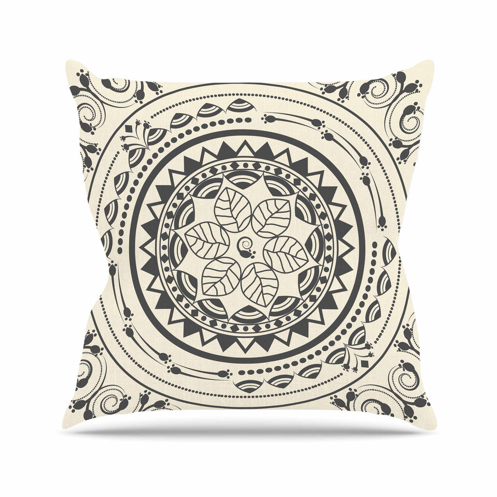 "Famenxt ""Boho Folk Mandala"" Beige Black Digital Throw Pillow"