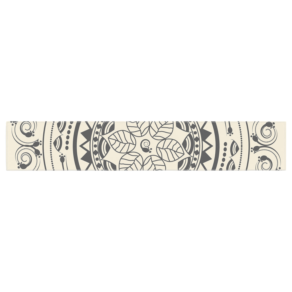 "Famenxt ""Boho Folk Mandala"" Beige Black Digital Table Runner"