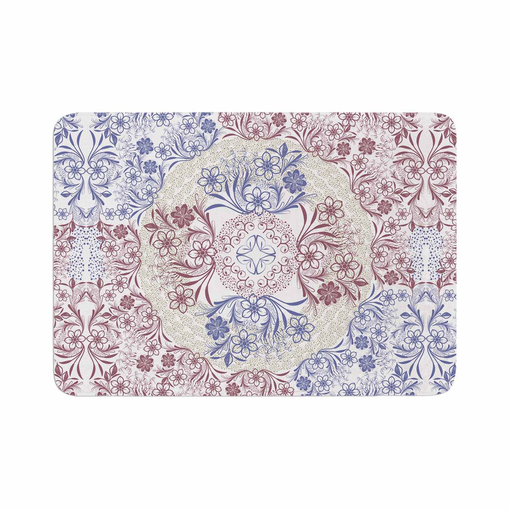 "Famenxt ""Floral Dense Garden"" Blue Brown Illustration Memory Foam Bath Mat"