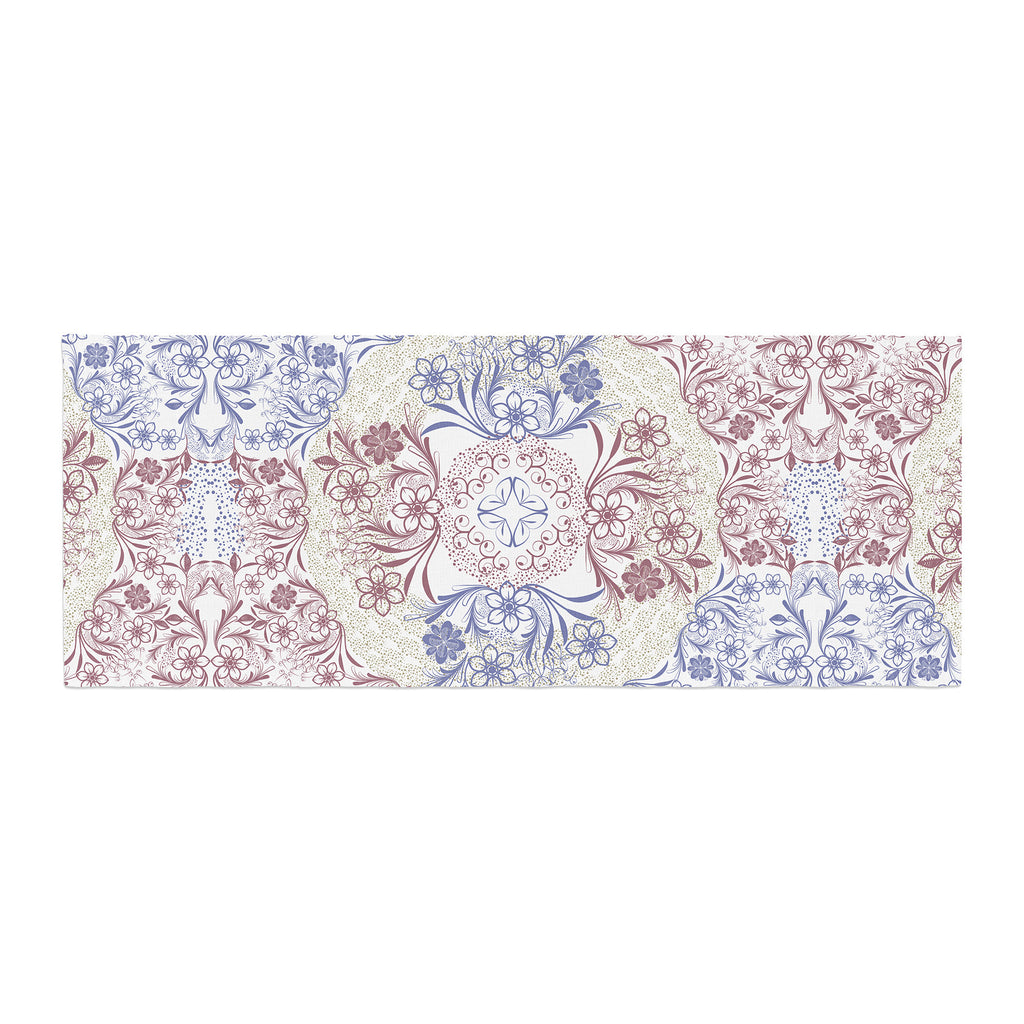"Famenxt ""Floral Dense Garden"" Blue Brown Illustration Bed Runner"