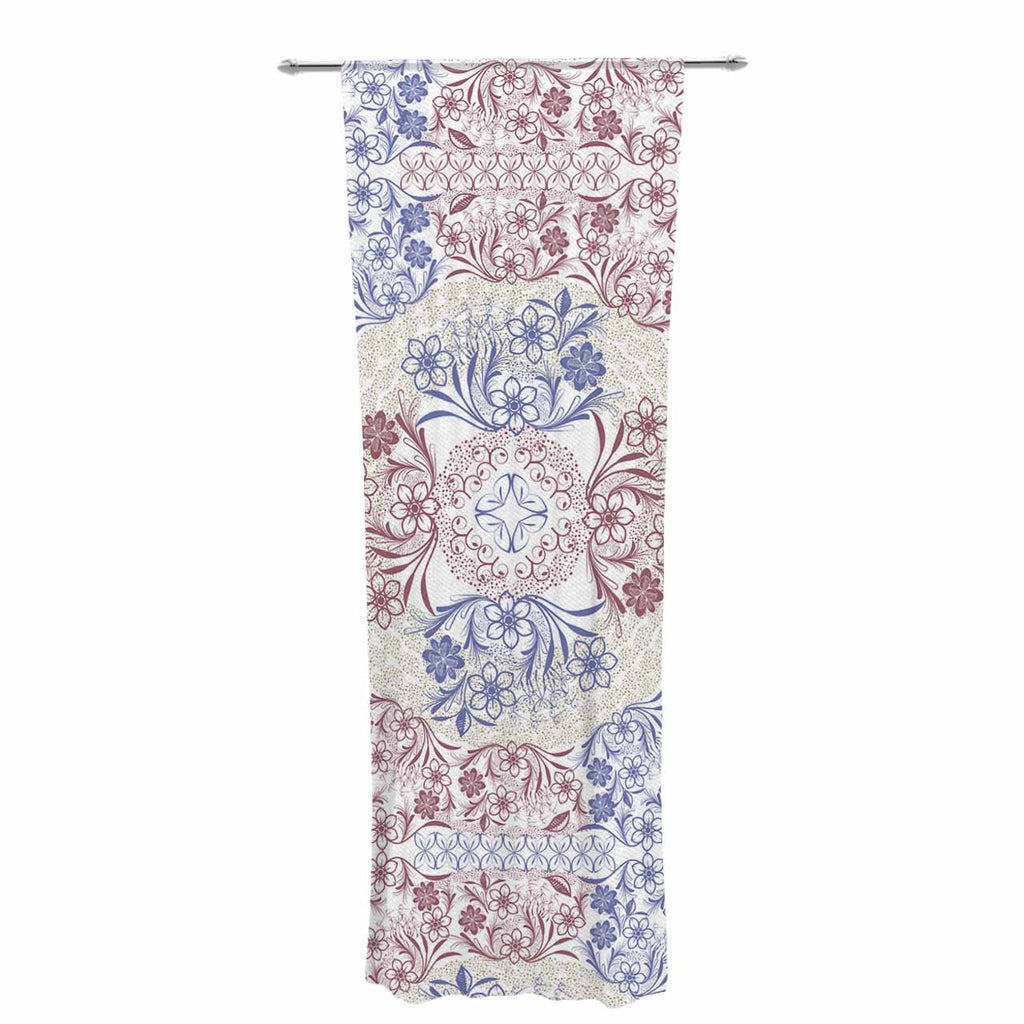 "Famenxt ""Floral Dense Garden"" Blue Brown Illustration Decorative Sheer Curtain"