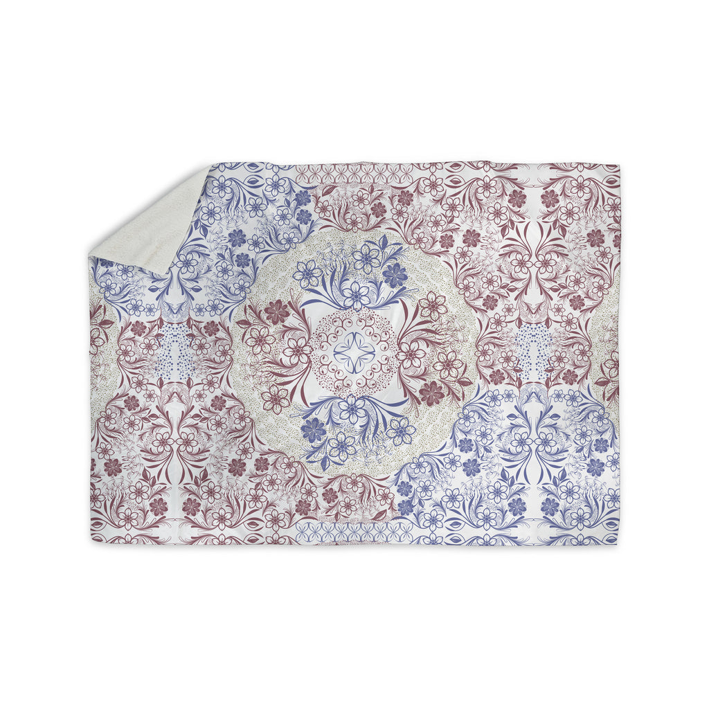 "Famenxt ""Floral Dense Garden"" Blue Brown Illustration Sherpa Blanket - KESS InHouse"