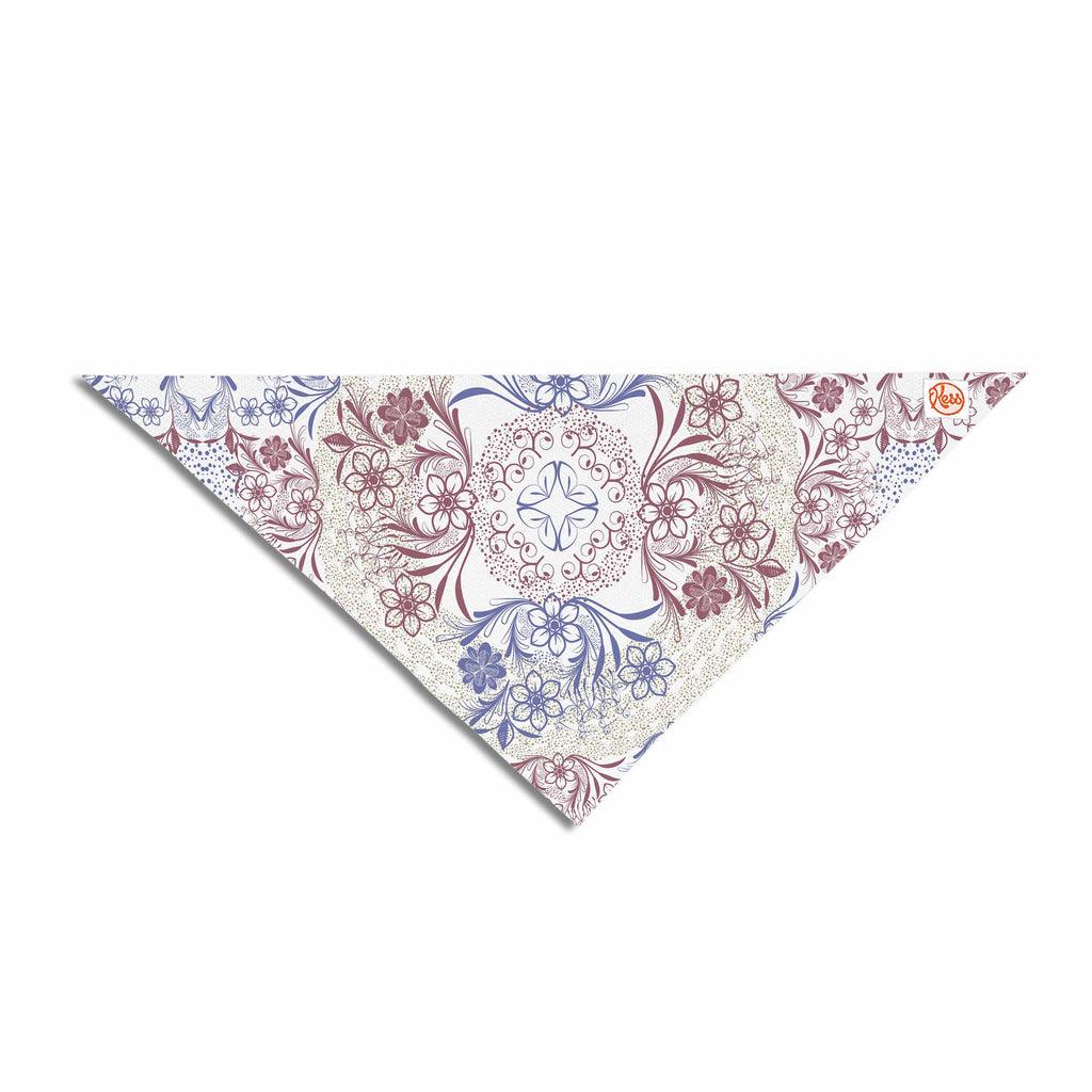 "Famenxt ""Floral Dense Garden"" Blue Brown Illustration Pet Bandana"