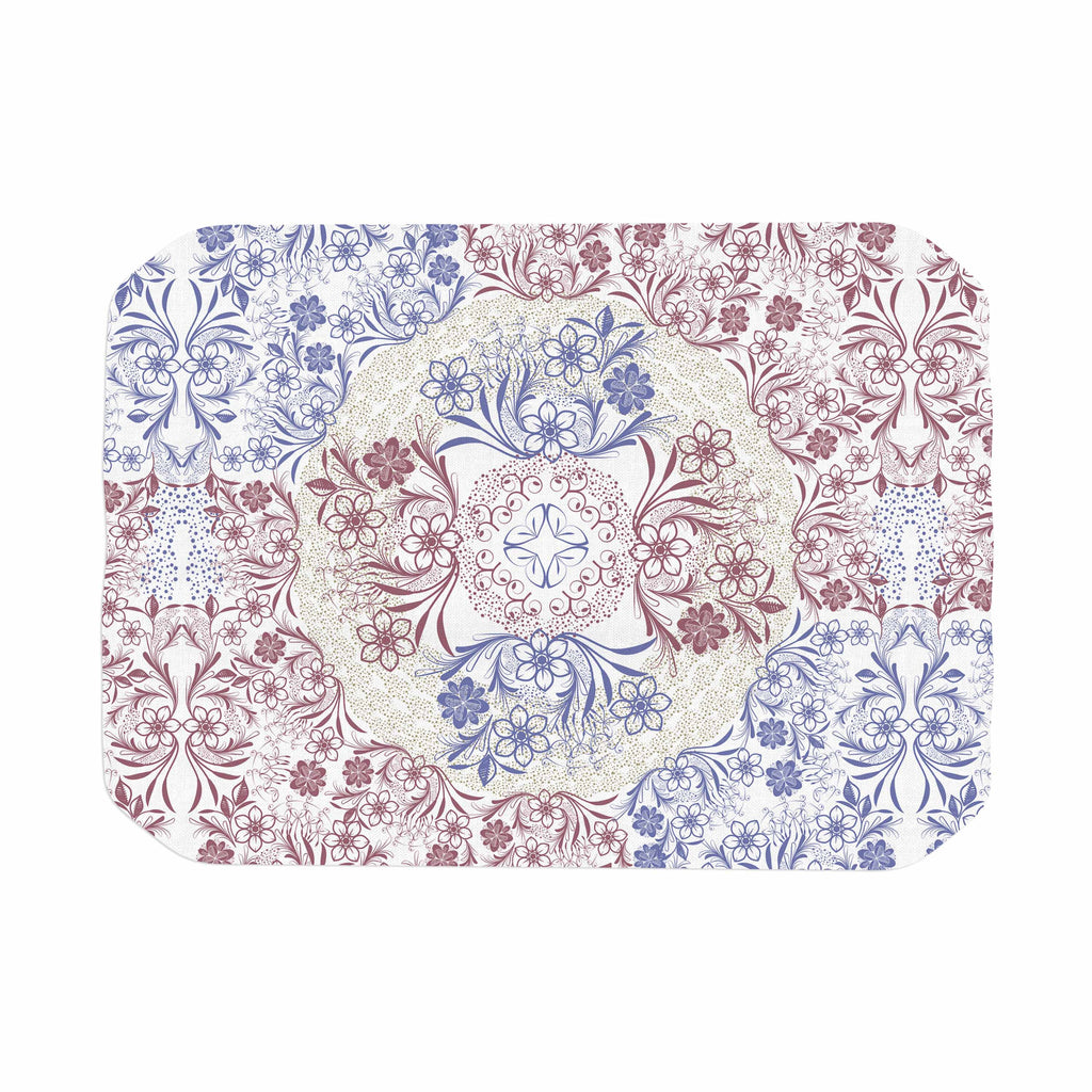 "Famenxt ""Floral Dense Garden"" Blue Brown Illustration Place Mat"