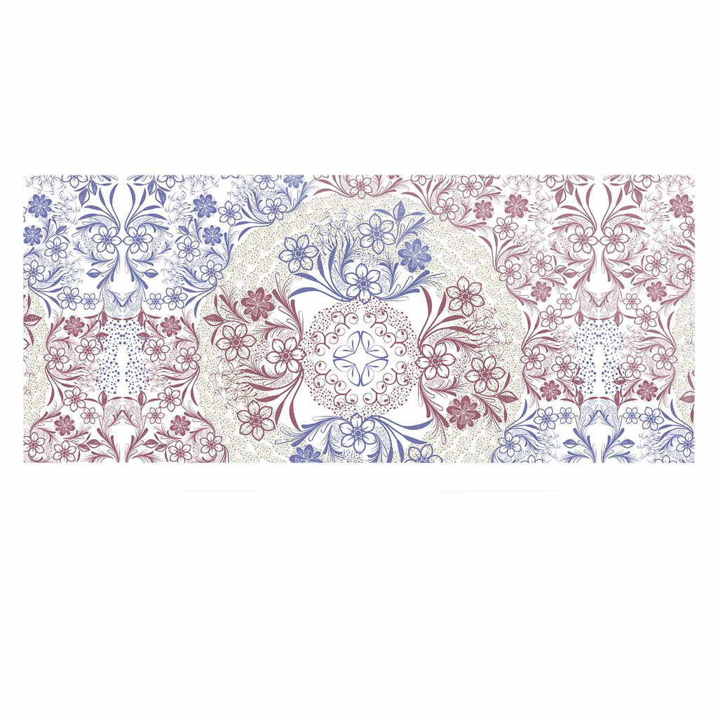 "Famenxt ""Floral Dense Garden"" Blue Brown Illustration Luxe Rectangle Panel"
