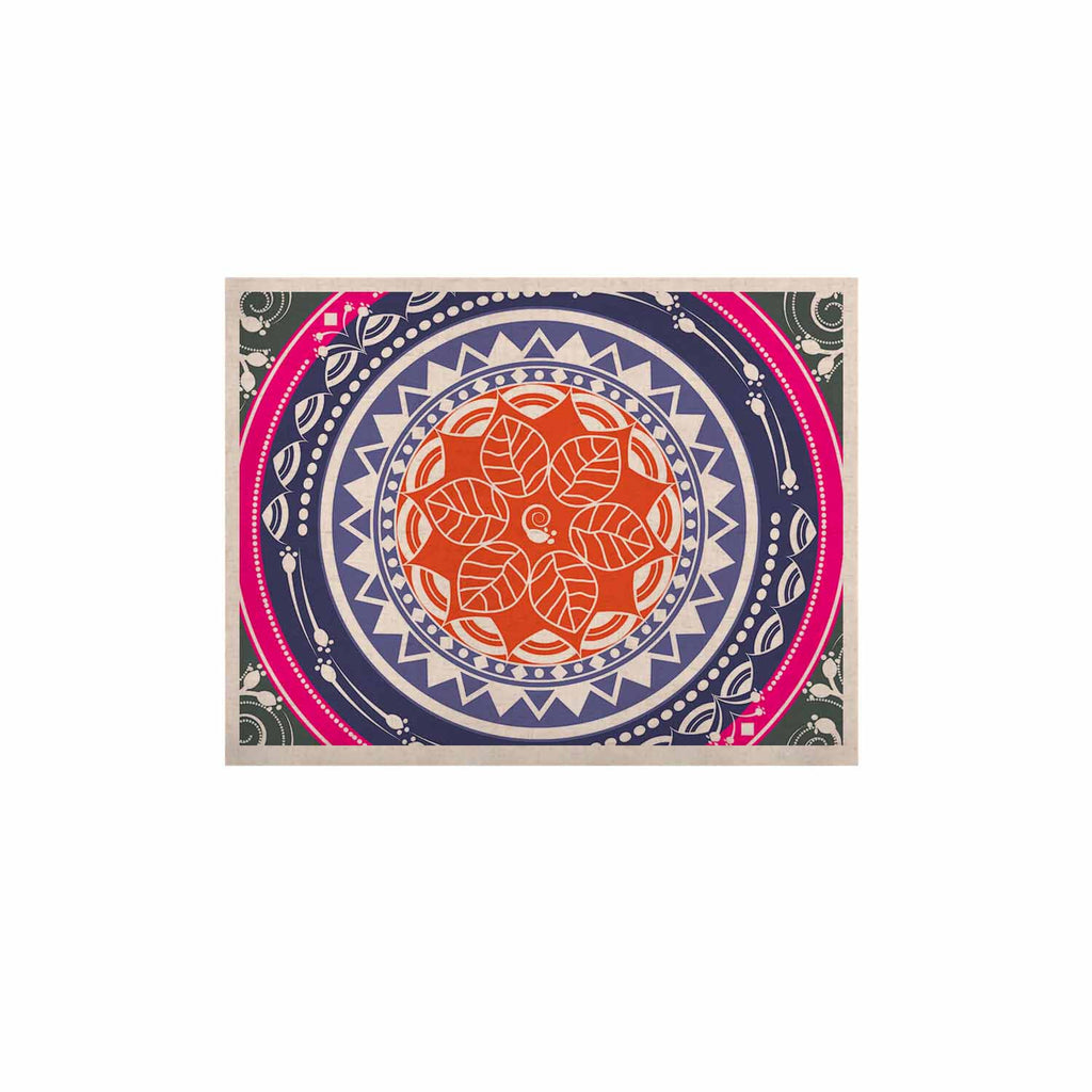 "Famenxt ""Boho Folk Colors Mandala"" Olive Multicolor Digital KESS Naturals Canvas (Frame not Included)"