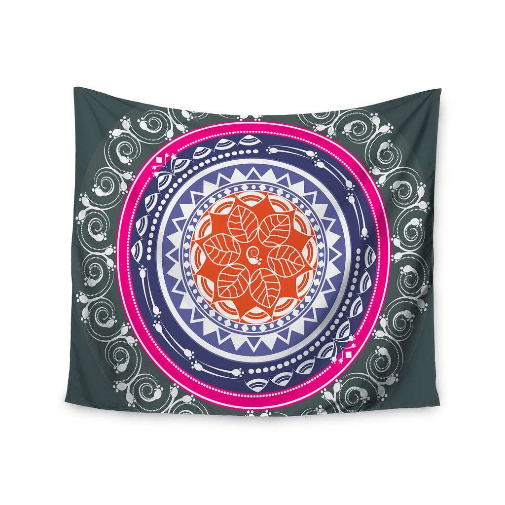 "Famenxt ""Boho Folk Colors Mandala"" Olive Multicolor Digital Wall Tapestry - KESS InHouse  - 1"