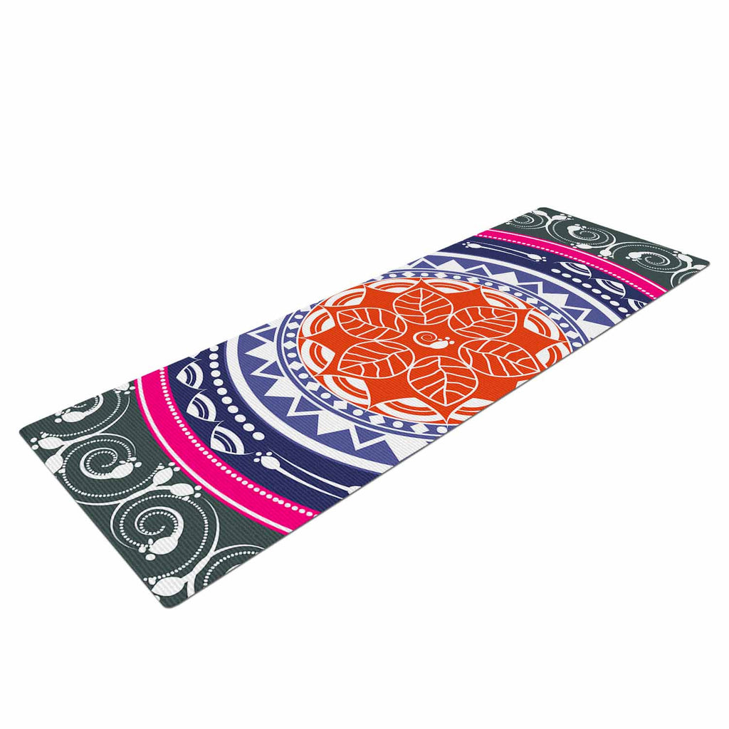 "Famenxt ""Boho Folk Colors Mandala"" Olive Multicolor Digital Yoga Mat"