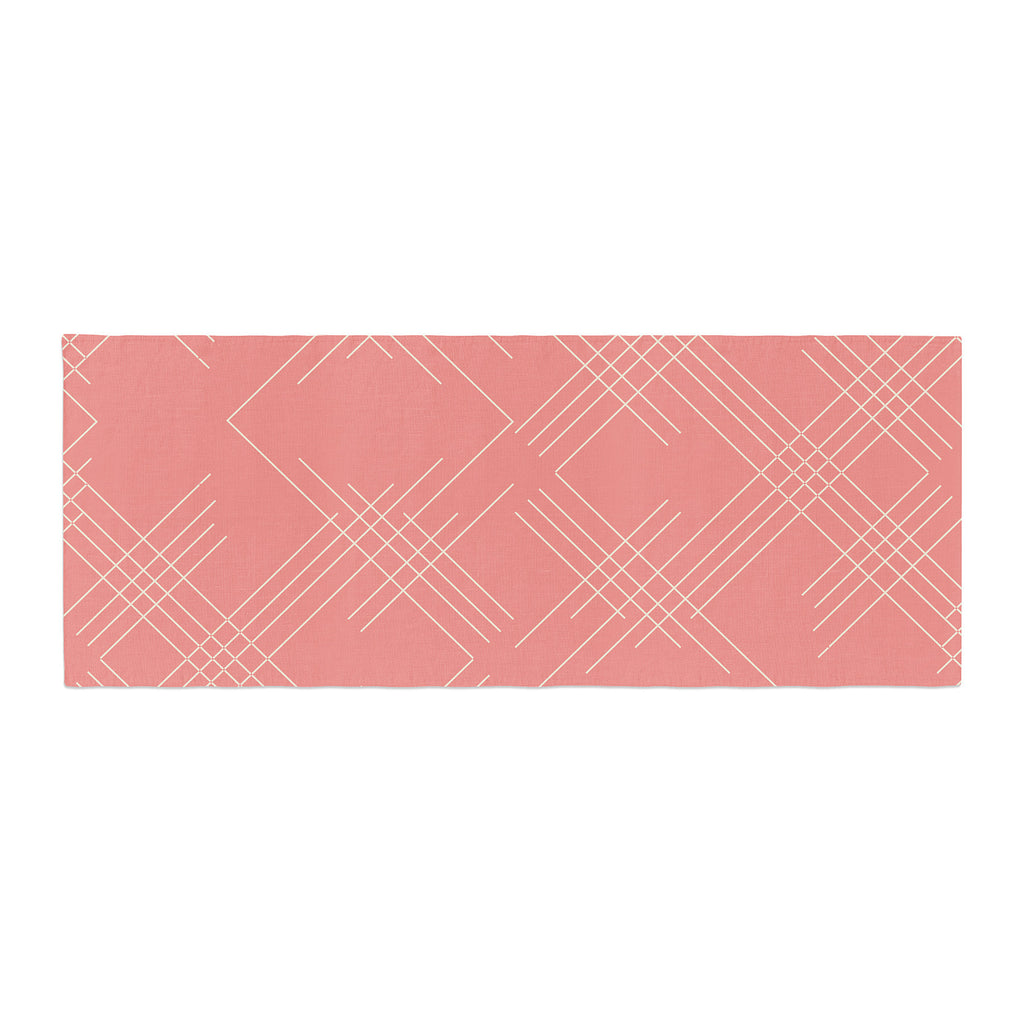 "Famenxt ""All A Blaze Abstract"" Coral Beige Illustration Bed Runner"