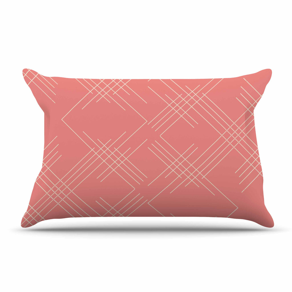 "Famenxt ""All A Blaze Abstract"" Coral Beige Illustration Pillow Sham"