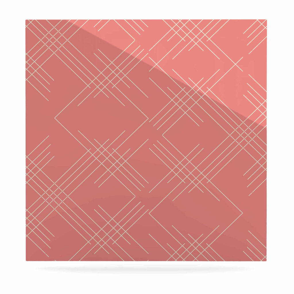 "Famenxt ""All A Blaze Abstract"" Coral Beige Illustration Luxe Square Panel"