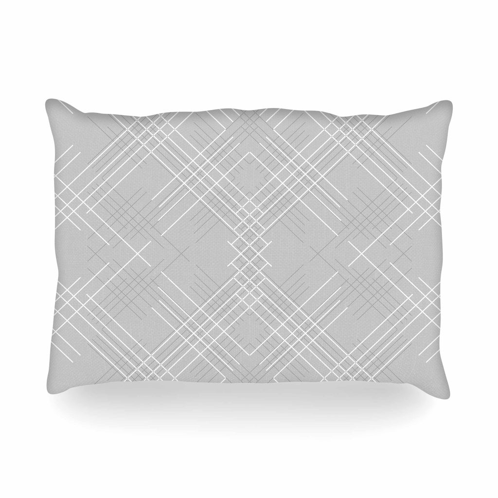 "Famenxt ""Gray Abstract"" Gray White Illustration Oblong Pillow"