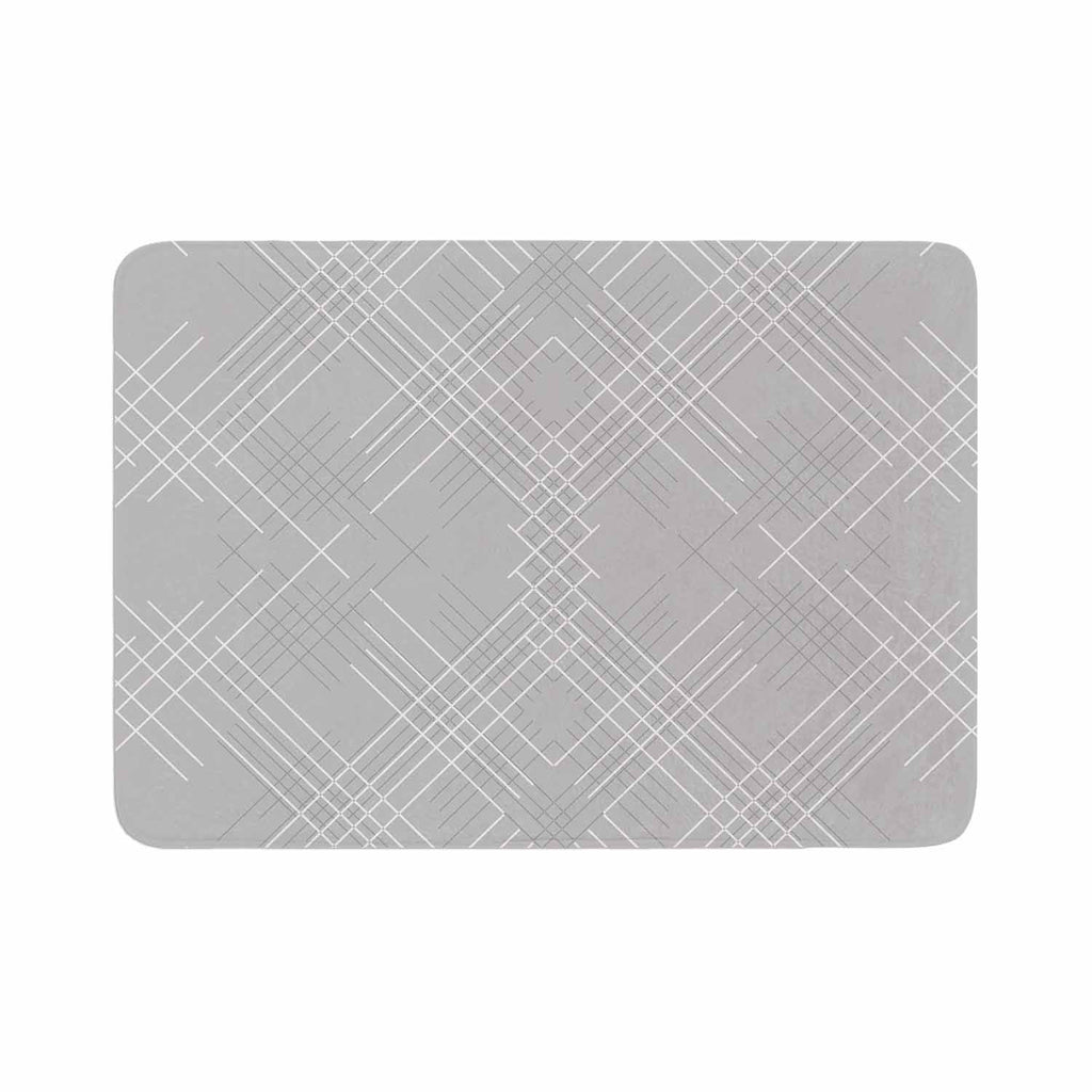 "Famenxt ""Gray Abstract"" Gray White Illustration Memory Foam Bath Mat"