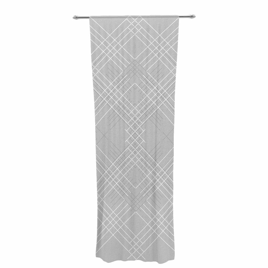"Famenxt ""Gray Abstract"" Gray White Illustration Decorative Sheer Curtain"