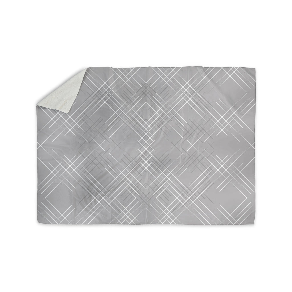 "Famenxt ""Gray Abstract"" Gray White Illustration Sherpa Blanket - KESS InHouse"