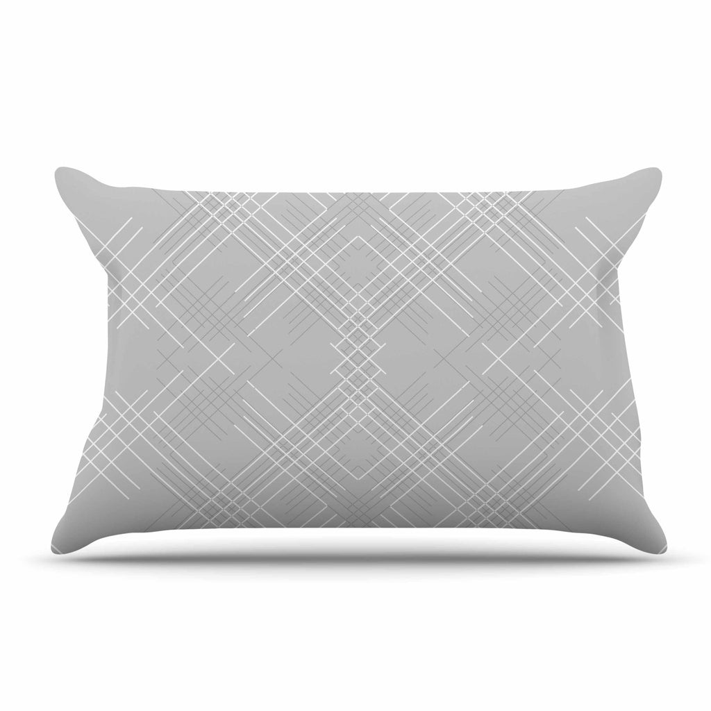"Famenxt ""Gray Abstract"" Gray White Illustration Pillow Sham"