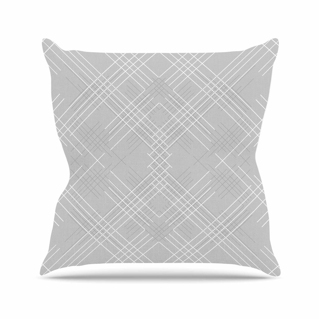 "Famenxt ""Gray Abstract"" Gray White Illustration Outdoor Throw Pillow"