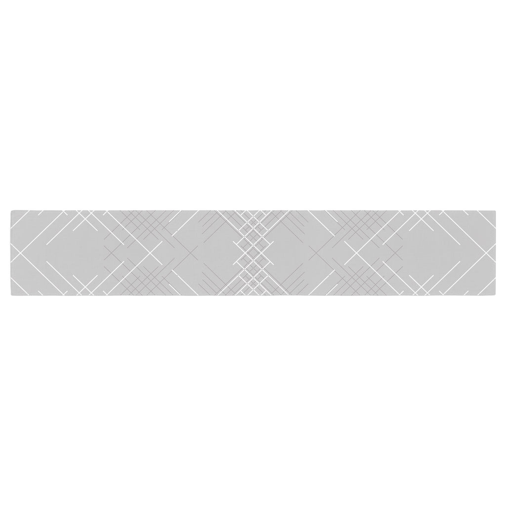 "Famenxt ""Gray Abstract"" Gray White Illustration Table Runner"