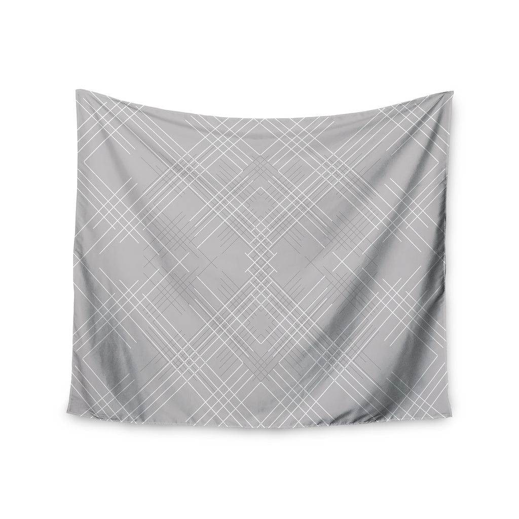 "Famenxt ""Gray Abstract"" Gray White Illustration Wall Tapestry - KESS InHouse  - 1"