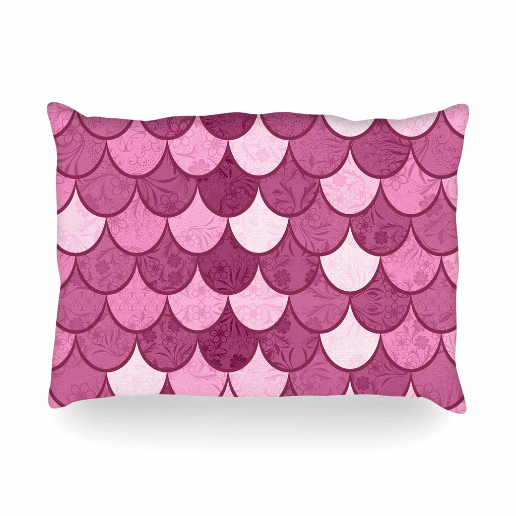 "Famenxt ""Pink Mermaid"" Pink Pattern Illustration Oblong Pillow"