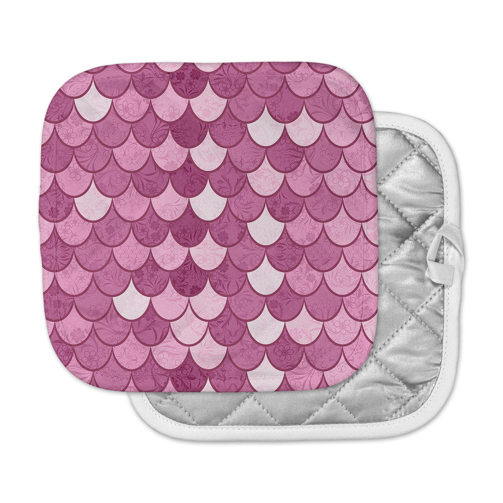 "Famenxt ""Pink Mermaid"" Pink Pattern Illustration Pot Holder"