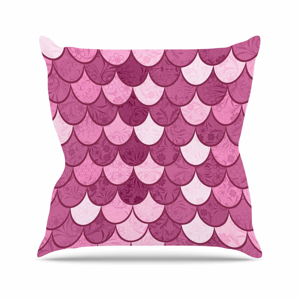 "Famenxt ""Pink Mermaid"" Pink Pattern Illustration Outdoor Throw Pillow"