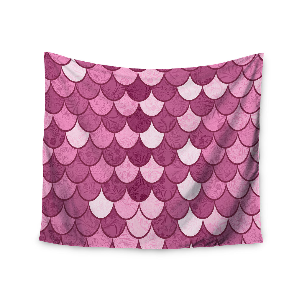 "Famenxt ""Pink Mermaid"" Pink Pattern Illustration Wall Tapestry - KESS InHouse  - 1"
