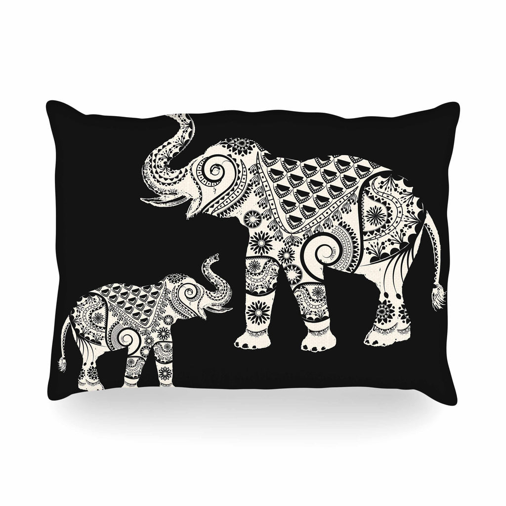 "Famenxt ""Ornamental Indian Elephant"" Black White Digital Oblong Pillow - KESS InHouse"