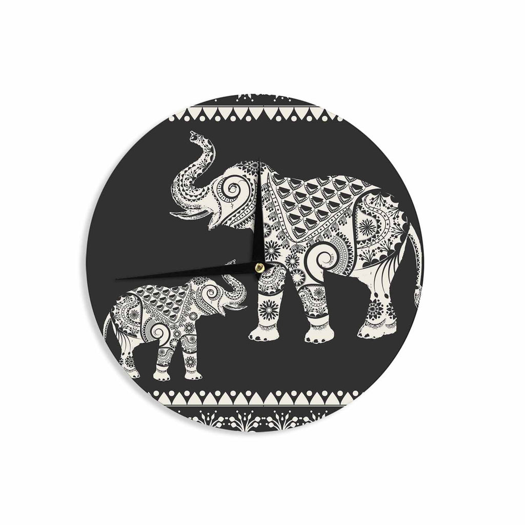 "Famenxt ""Ornamental Indian Elephant"" Black White Digital Wall Clock - KESS InHouse"