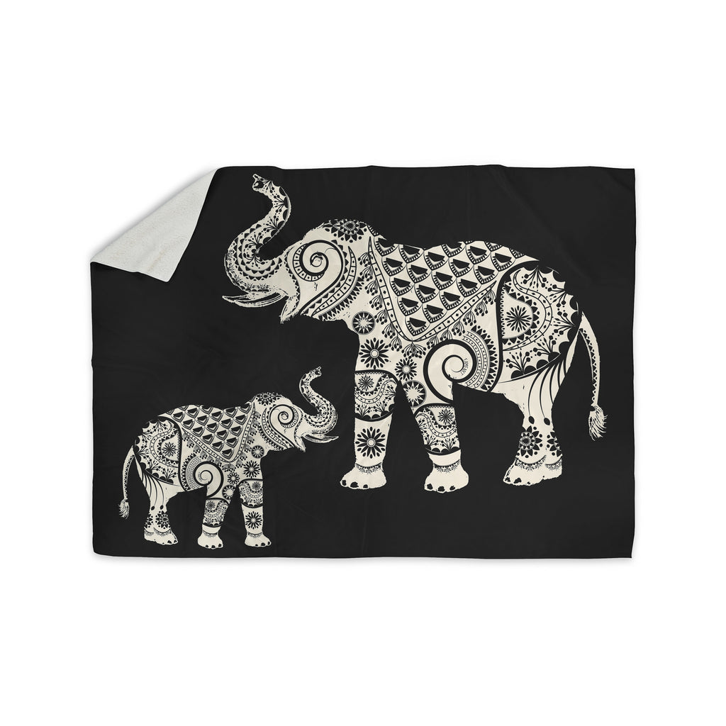 "Famenxt ""Ornamental Indian Elephant"" Black White Digital Sherpa Blanket - KESS InHouse"