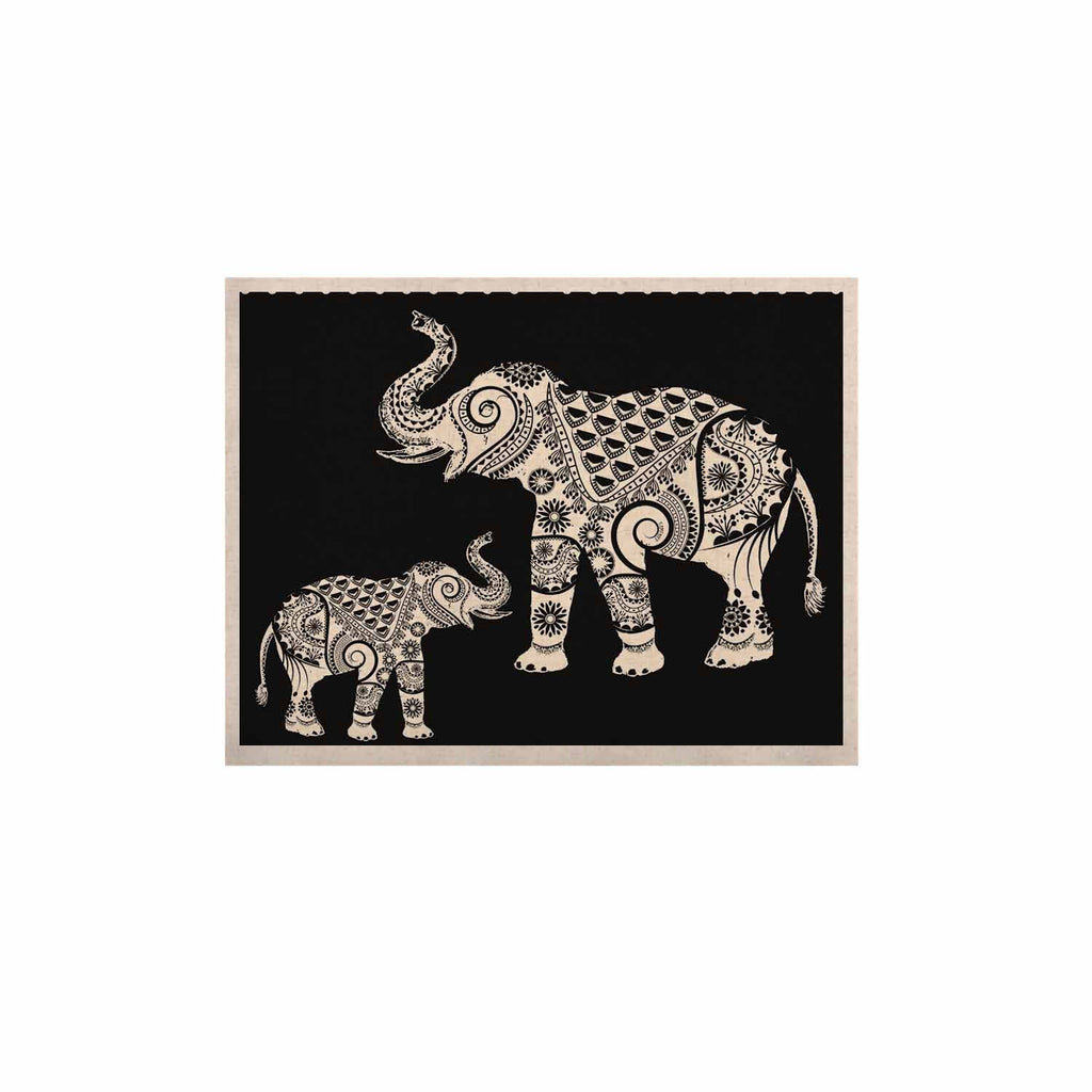 "Famenxt ""Ornamental Indian Elephant"" Black White Digital KESS Naturals Canvas (Frame not Included) - KESS InHouse  - 1"
