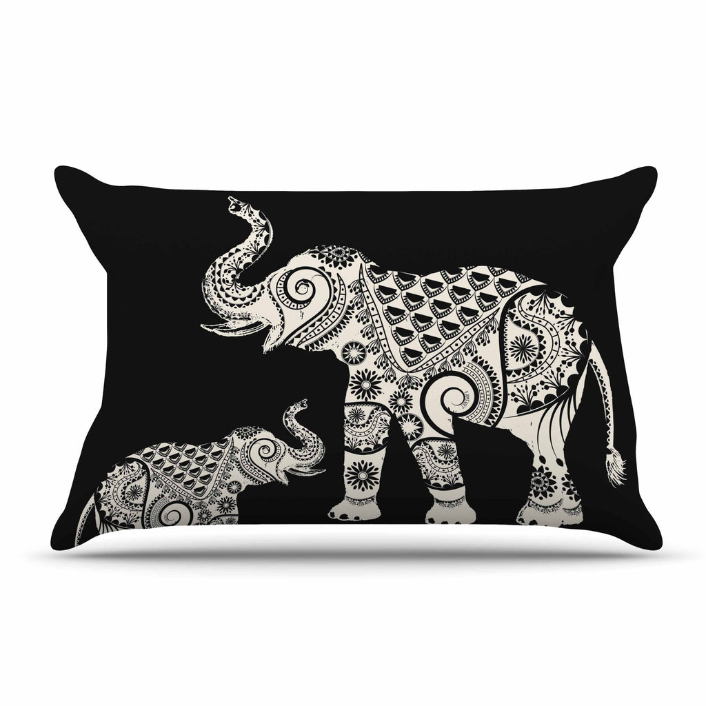 "Famenxt ""Ornamental Indian Elephant"" Black White Digital Pillow Sham - KESS InHouse  - 1"