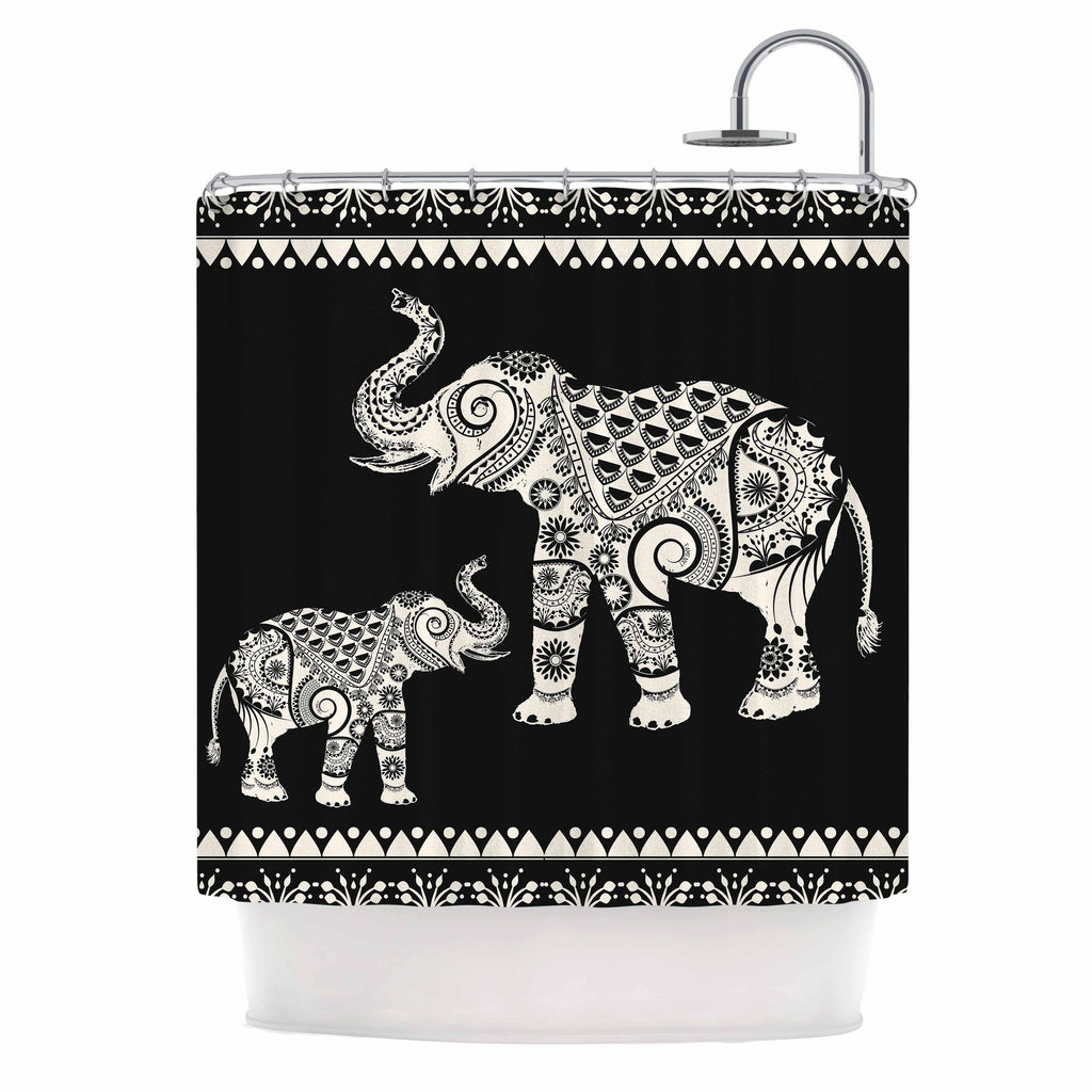 "Famenxt ""Ornamental Indian Elephant"" Black White Digital Shower Curtain - KESS InHouse"