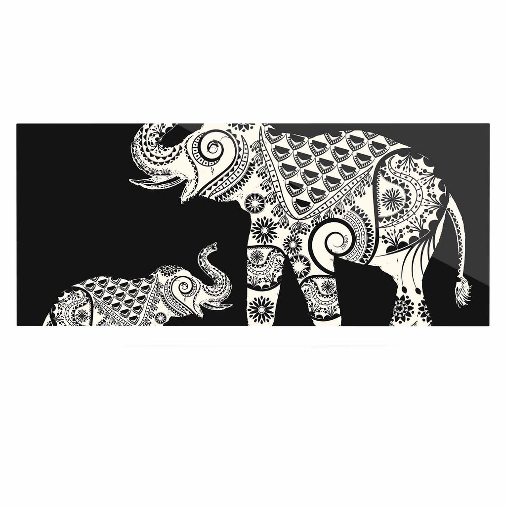 "Famenxt ""Ornamental Indian Elephant"" Black White Digital Luxe Rectangle Panel - KESS InHouse  - 1"