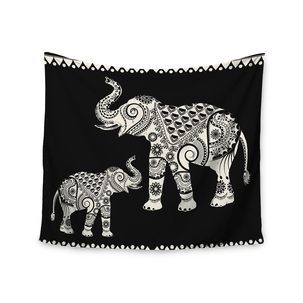 "Famenxt ""Ornamental Indian Elephant"" Black White Digital Wall Tapestry - KESS InHouse  - 1"